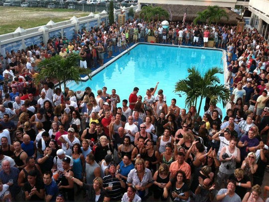The pool at Paradise is packed all summer.