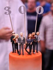 """A cake celebrating the 300th episode of """"Law and Order:"""