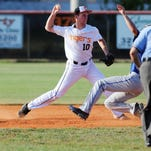 Cocoa's Blake Beyel (10) starts the double play during a recent game against Heritage in Cocoa.
