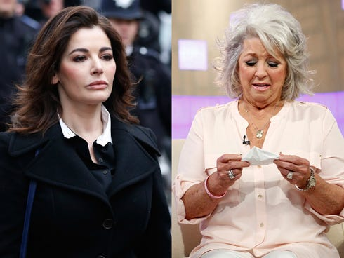 Nigella Lawson as she arrives at Isleworth Crown Court in London, left, and Paula Deen crying on NBC News'