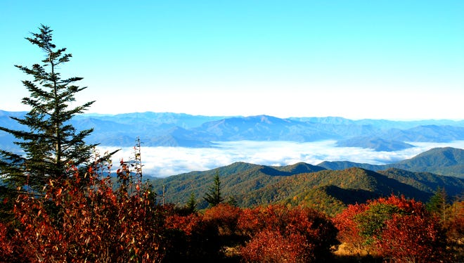 An autumn view from from Forney Ridge in Tennessee looking south within Great Smoky Mountains National Park in 2009 when the park celebrated its 75th anniversary.