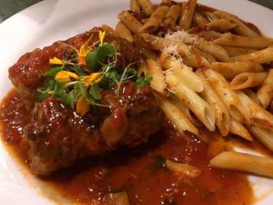 Vincent's braciola was two luscious rolls of thin,