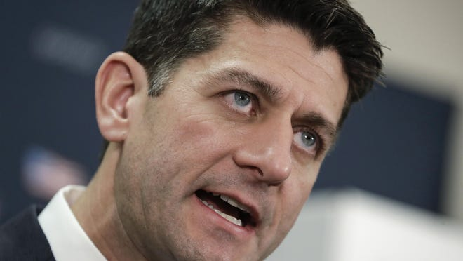 FILE - In this Nov. 14, 2017, file photo, Speaker of the House Paul Ryan, R-Wis., speaks during a news conference on Capitol Hill in Washington. (AP Photo/J. Scott Applewhite, File)