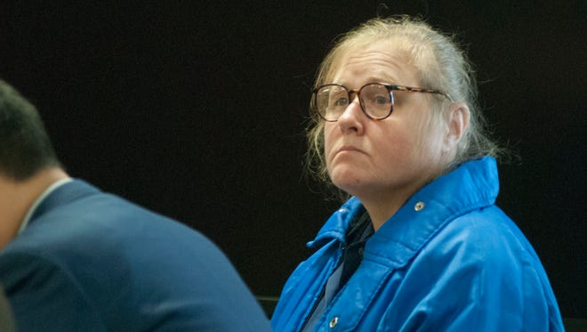 Judy Higley-Zuehlke prepares to leave the courtroom after an evidentiary hearing Wednesday, Feb. 10, 2016, in Circuit Judge Michael West's courtroom. Higley-Zuehlke was convicted in 2014 of second-degree murder in the death of her former boyfriend, John Allen.