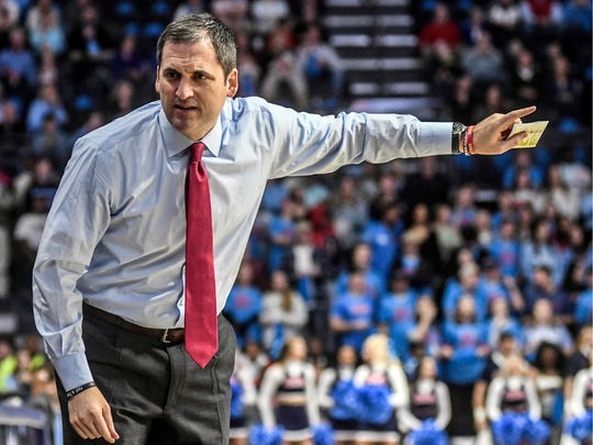 Iowa State head coach Steve Prohm talks to his bench during an NCAA college basketball game against Mississippi, Saturday, Jan. 26, 2019, in Oxford, Miss. (Bruce Newman/Star-Telegram via AP)