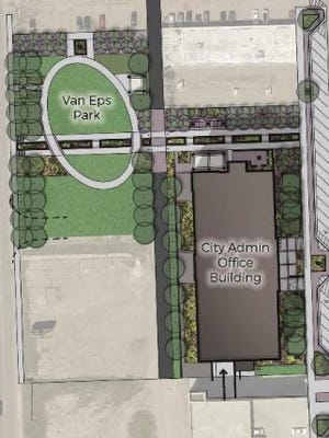 Artist renderings of proposed city services building and Van Eps Park improvements.
