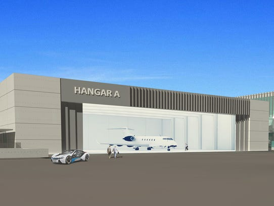 Construction on two executive-type hangars at Scottsdale