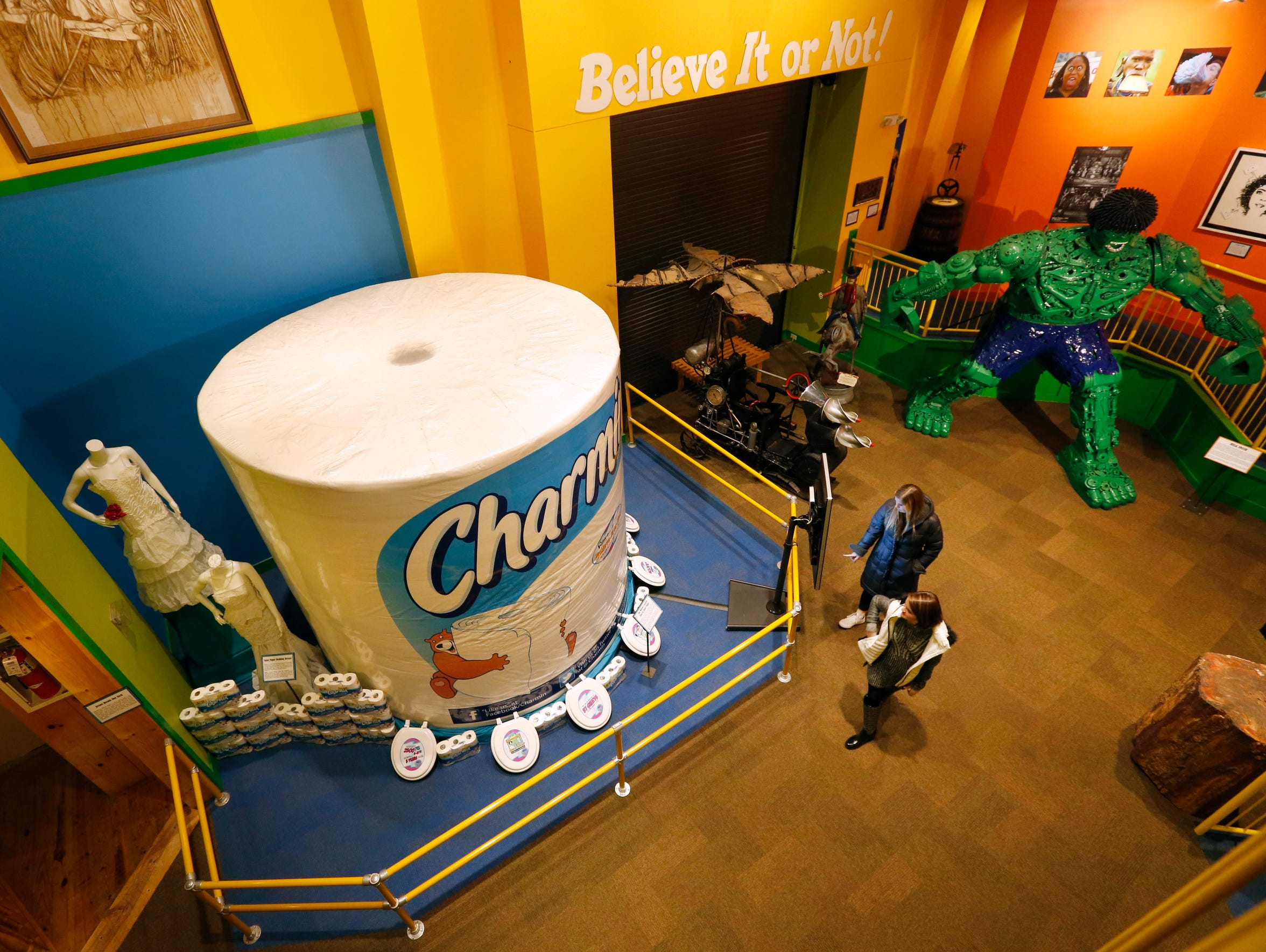 a giant roll of Charmin and an Incredible Hulk made