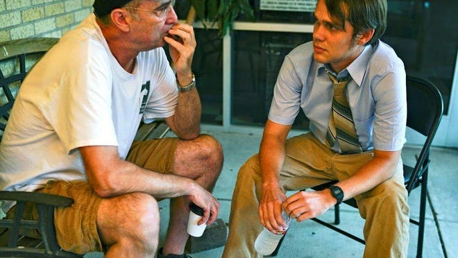 """Director David Keenan, left, and actor Ellar Coltrane on the set of """"Bodies of Water."""""""