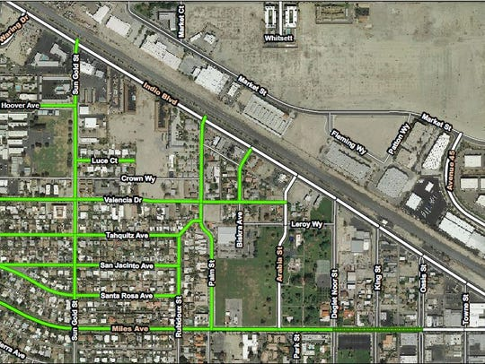 This map of Indio shows streets that will undergo an