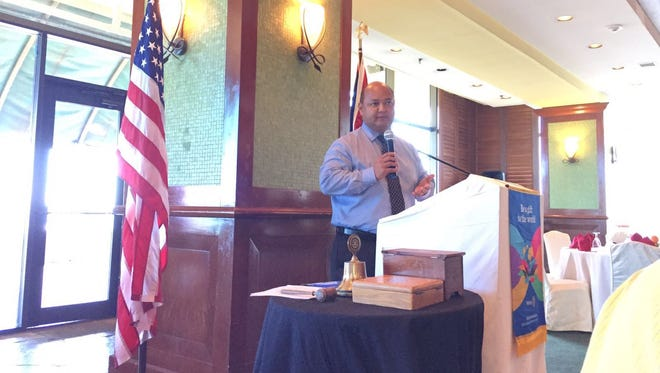 Guam Department of Education Superintendent Jon Fernandez speaks to the Rotary Club of Guam about the state of the GDOE school system and his plans going forward at a meeting at the View in the Pacific Star Resort & Spa, March 24.