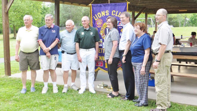 Gettysburg Lions Club's news officers, from left, are Tom Kellam (Lion Tamer), Mike Jackman (2nd Vice President andTreasurer), Bob Berkey (1st Vice President), Dennis Cope (First Vice District Governor), Maggie Baldwin (President), Bob Teeter (Outgoing President), Shirley Carlson (3rd Vice President), Ken VanHoutte (Secretary). Missing from photo is VJ Farmer (Tail Twister).