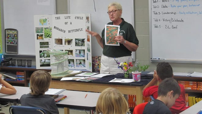 Judy Niziolek of the Baxter County Master Gardeners recently spoke to students in Ms. Perkins' fifth-grade sciences classes at Hackler Intermediate School in Mountain Home. Niziolek discussed the kinds of nectar and hosts plants to include in an planned Monarch Butterfly Garden at the school.The project began this fall, withmore plants to be added in the spring.