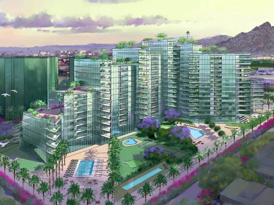 Southeast corner of the proposed Donald Trump condo-hotel project would be built at Camelback Road and 26th Street in Phoenix. It could rise to 18 stories. - Artist rendering