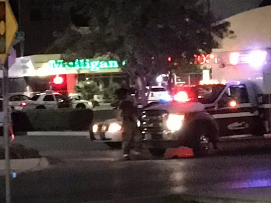 El Paso police investigate a July 30, 2017, shooting at Mulligan's Chopped Hog bar, 1810 George Dieter Drive.