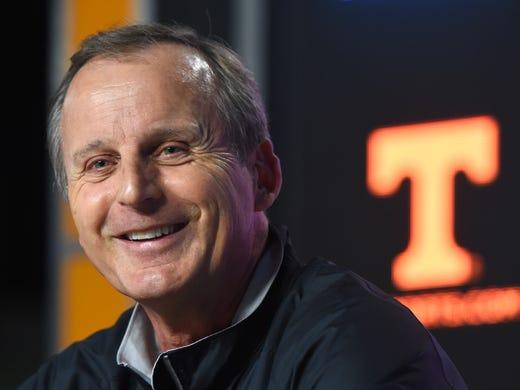 Tennessee basketball head coach Rick Barnes grins while