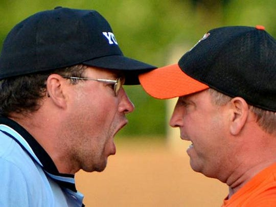 Tim Thoman argues a call as the manager of Stoverstown. Thoman's been with the ballclub since 1979, and has been manager of the Tigers the last seven-and-a-half years.