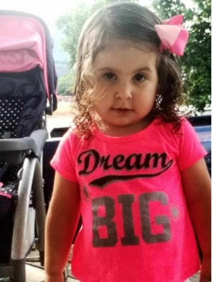Brooklyn Jade Galusha, a 2-year-old from Marion County. TBI issued an endangered child alert for Brooklyn on Saturday.