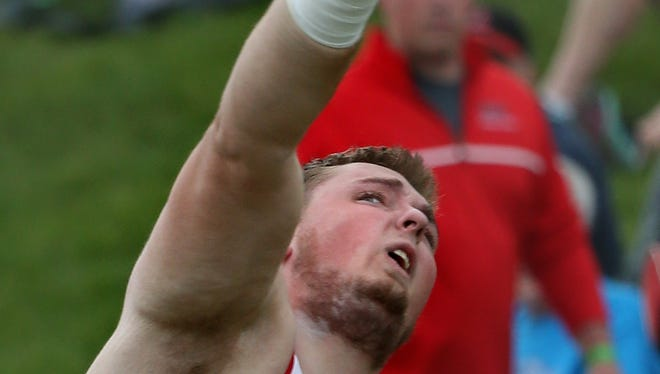 Lisbon's Keegan Tritle won the 1-A Shot Put during the 2014 State Track Championships at Drake Stadium Thursday, May 22, 2014.