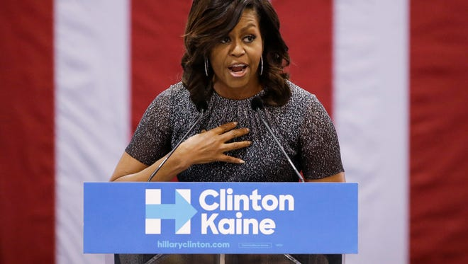 First lady Michelle Obama addresses the Arizona Democratic Party Early Vote rally at the Phoenix Convention Center on Oct. 20, 2016 in Phoenix.