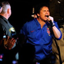"Singer Jimi Jamison performs Survivor's song ""Eye of the Tiger"" as boxer Manny Pacquiao walks out to the ring to take on Juan Manuel Marquez in the WBO world welterweight title fight at the MGM Grand Garden Arena on November 12, 2011 in Las Vegas, Nevada."