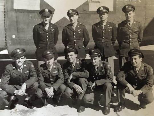 Salem's Jerry Duran, front row far right, believes he is the last surviving member of his B-17 bomber crew, pictured here in February 1944 at Modoc, California, a couple of months before the 353rd Bombardment Squadron, 301st Bomb Group leaves for Italy.