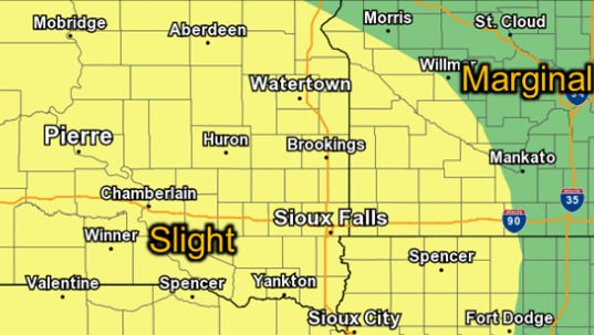 Chance of severe weather in South Dakota, Minnesota and Iowa on Saturday night into Sunday morning.