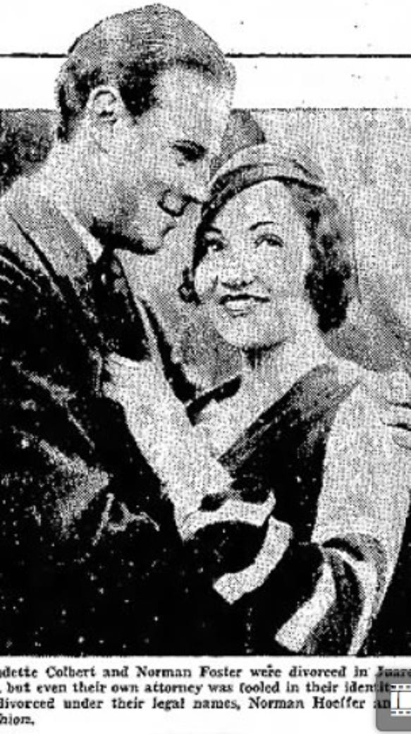 Claudette Colbert and husband Norman Foster.