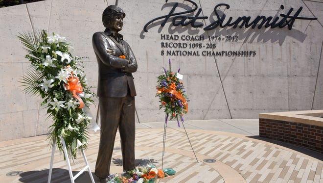Pat Summitt Plaza is shown on Wednesday, June 28, 2017, the first anniversary of the death of the legendary Lady Vols basketball coach.