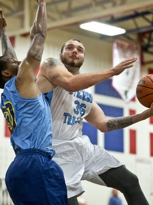 Sterns Trailer's Mike Aaman goes to the hoop. Jersey Mike's Jersey Shore Basketball League game between Larsen Ford and Sterns Trailer. Wall Township, NJ Tuesday, July 12, 2016@dhoodhood