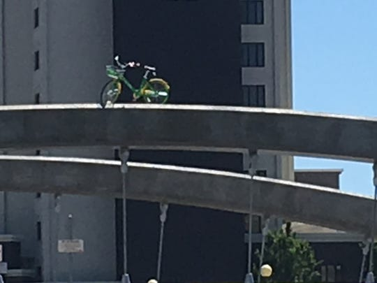 Reno's Nate Ashley snapped this photo of a LimeBike from his vantage point at Campo restaurant on Saturday, June 2, 2018.