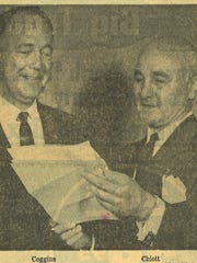 Westgate Regional Shopping Center developer George Coggins (left) and Joe T. Chiott, president of Essex Realty and Mortgage Co., celebrating a $1.2 million loan in October 1955 for construction of the shopping center in West Asheville.
