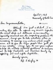 Rife Hughey's 1968 letter to then Congressman (and future Metro Nashville mayor) Richard Fulton.