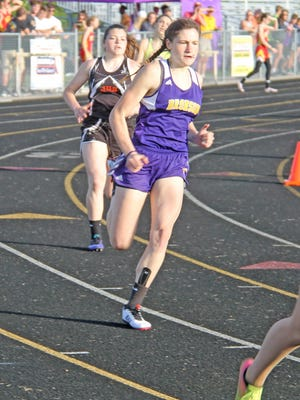 Bronson sprinter Jenna Salek, shown here during her sophomore season of track, earned All-American honors in the 200 meter dsah after competing in the NSAF Virtual Track and Field season.