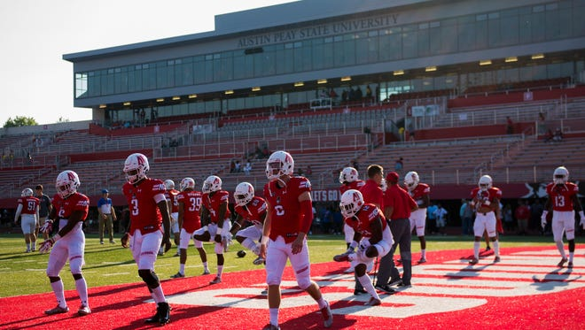 Austin Peay Governors stretch during pregame for their game against Morehead State on September 16, 2017.
