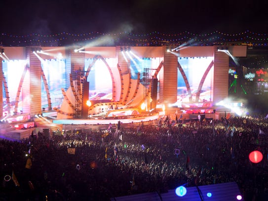Electronic music fans gather at the Las Vegas Motor