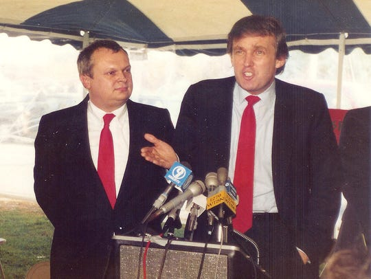 Mike Dunbar and Donald Trump in New Hampshire in 1987.