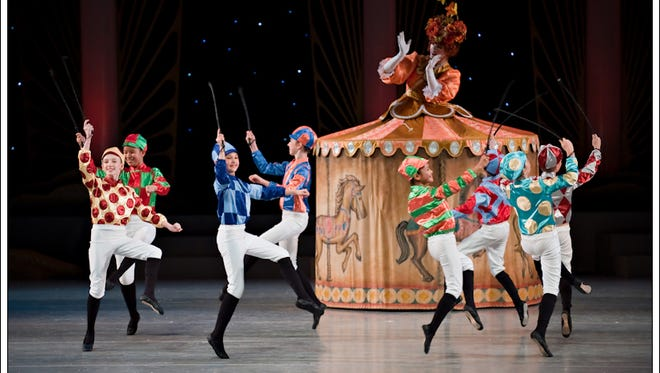 """Louisville Ballet's """"The Nutcracker"""" features Mother Ginger and her children dressed as jockeys."""