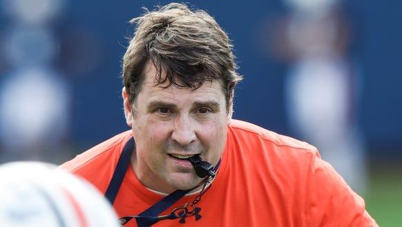 Auburn defensive coordinator Will Muschamp is installing