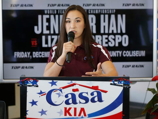 El Paso's IBF World Featherweight Champion Jennifer Han during her announcement that she will be defending her title against number one contender and mandatory challenger Lizbeth Crespo.