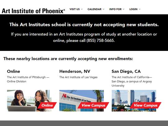 A screenshot from The Art Institute of Phoenix's website