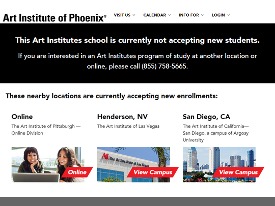 A screenshot from The Art Institute of Phoenix's website shows a message stating that the school is no longer accepting new students.