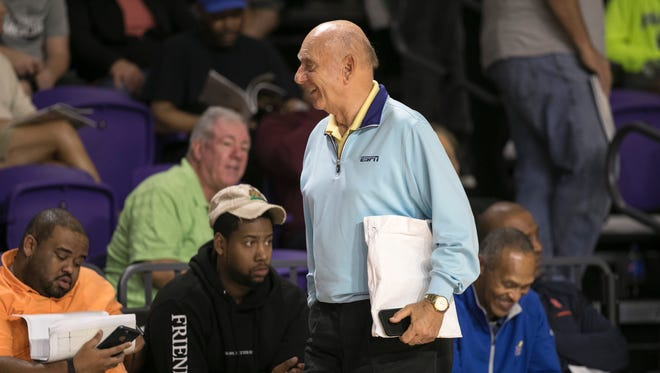 Dick Vitale takes a break to chat before the Montverde Academy vs. IMG Academy game in the semifinals of the 44th Annual Culligan City of Palms Classic at Suncoast Credit Union Arena on Tuesday in south Fort Myers.