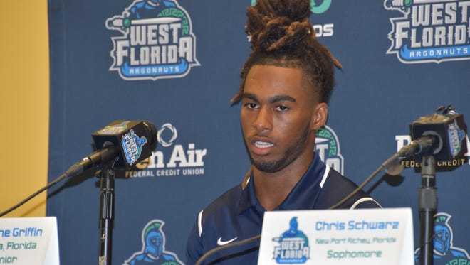 University of West Florida wide receiver Antoine Griffin speaks at Media Day on Wednesday in Pensacola.