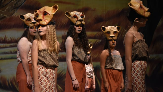Young actors in the San Angelo Broadway Academy rehearse for Lion King Jr. on July 26, 2018 in the Murphey Performance Hall.