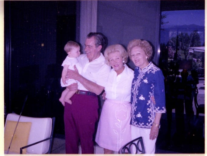 Former President Nixon holds granddaughter Jennie Eisenhower