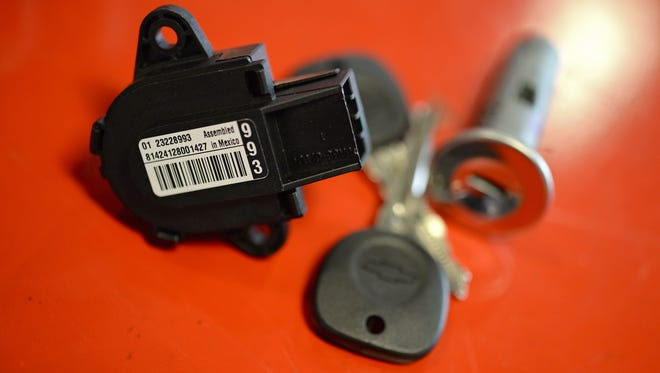 One of about 1 million replacement ignition switches that have been swapped for faulty ones in GM cars recalled earlier this year. Another 1.6 million still need new switches.