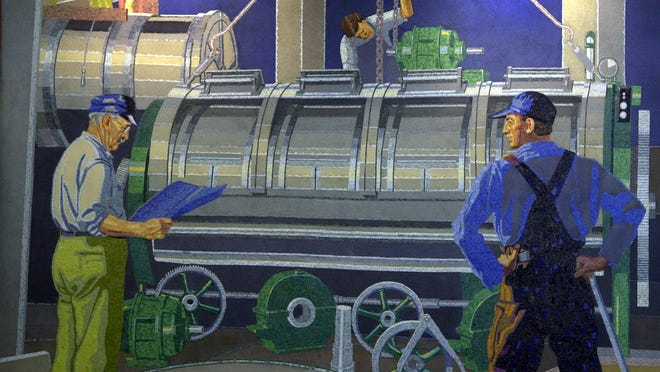 Winold Reiss' mosaic mural of workers at American Laundry Machinery.