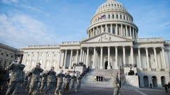 Inauguration rehearsal stand-ins Army Spc. Sara Corry,