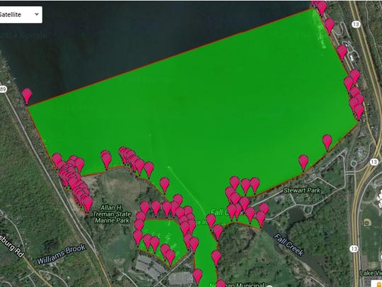 A map of the acreage used to determine gallons of water